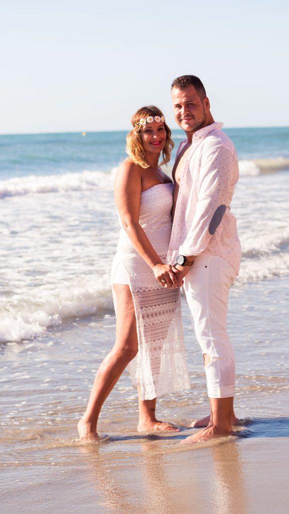 pareja fotografia en la playa
